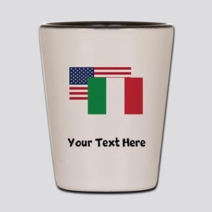American And Italian Flag Shot Glass