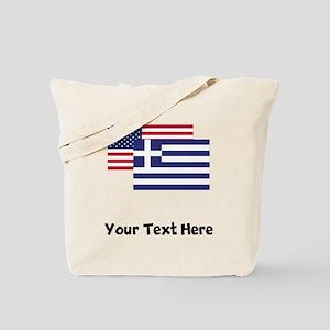 American And Greek Flag Tote Bag