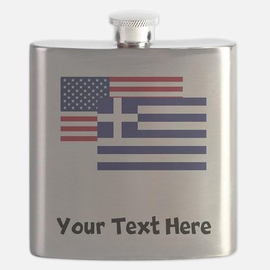 American And Greek Flag Flask