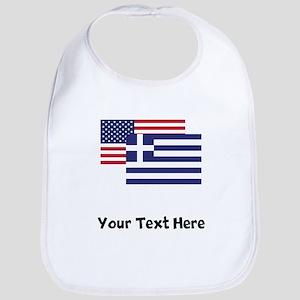 American And Greek Flag Bib