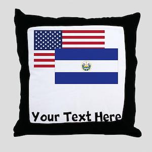 American And El Salvadorian Flag Throw Pillow