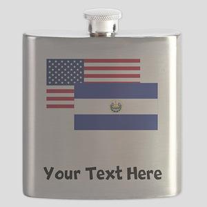 American And El Salvadorian Flag Flask