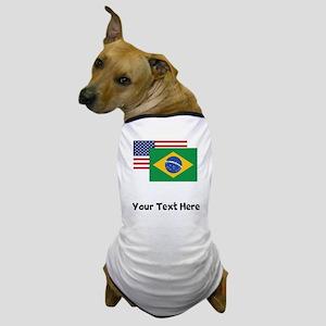 American And Brazilian Flag Dog T-Shirt