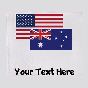 American And Australian Flag Throw Blanket