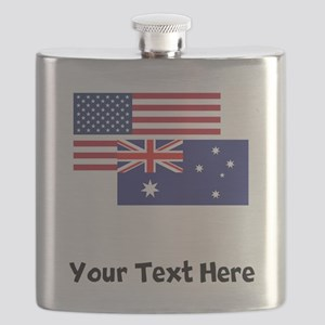 American And Australian Flag Flask