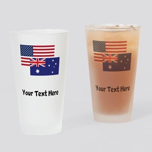 American And Australian Flag Drinking Glass