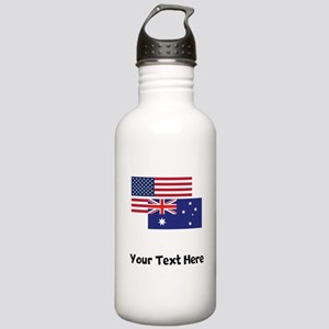 American And Australian Flag Water Bottle