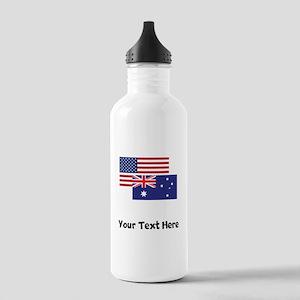American And Australian Flag Water Bottle