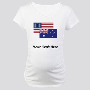 American And Australian Flag Maternity T-Shirt