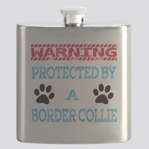Warning Protected by a Border Collie Dogs Flask