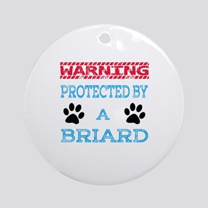 Warning Protected by a Briard Dog Round Ornament