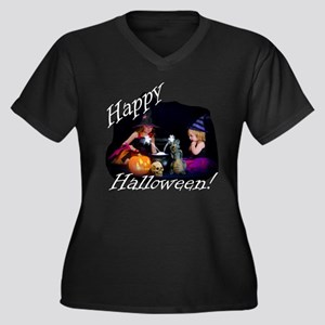 Little Witches Halloween Women's Plus Size V-Neck
