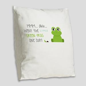 Little Green Frog Burlap Throw Pillow