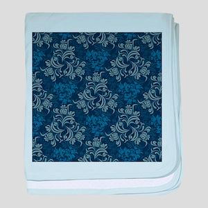 Blue Floral Damask baby blanket