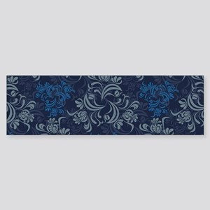 Blue Floral Damask Bumper Sticker