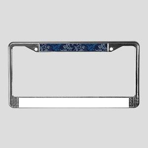 Blue Floral Damask License Plate Frame