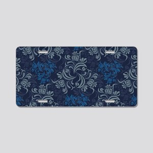 Blue Floral Damask Aluminum License Plate