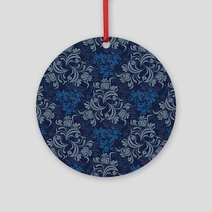 Blue Floral Damask Round Ornament