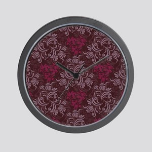 Burgundy Red Floral Damask Wall Clock
