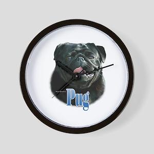 Pug(black)Name Wall Clock