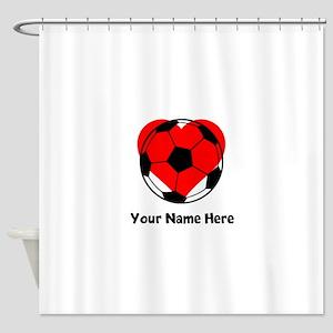 Custom Soccer Heart Shower Curtain