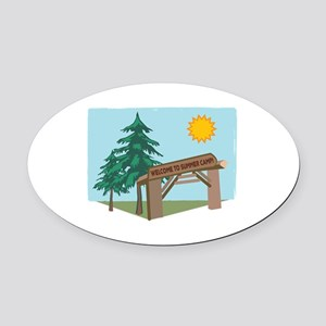 Welcome Summer Camp Oval Car Magnet