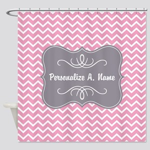 Pink And White Chevron With Custom Shower Curtain