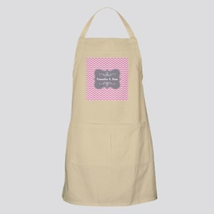 Pink and White Chevron with Custom Name Apron