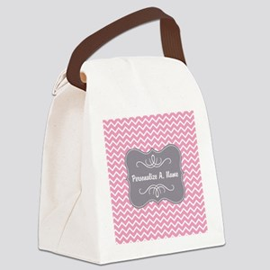 Pink and White Chevron with Custo Canvas Lunch Bag