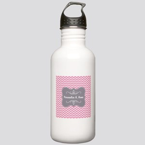 Pink and White Chevron Stainless Water Bottle 1.0L