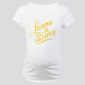 Laverne and Shirley Yellow Logo Maternity T-Shirt
