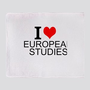 I Love European Studies Throw Blanket