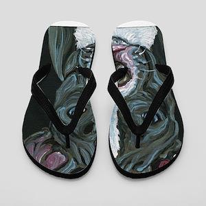 Blue Pitbull Dog Flip Flops