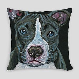 Blue Pitbull Dog Everyday Pillow