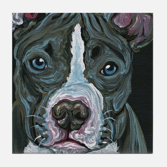 Blue Pitbull Dog Tile Coaster