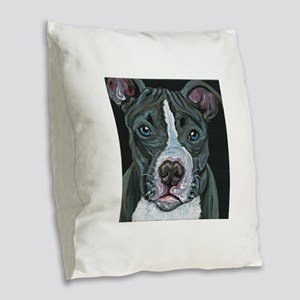 Blue Pitbull Dog Burlap Throw Pillow