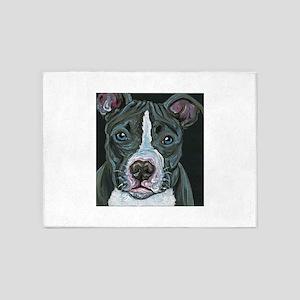 Blue Pitbull Dog 5'x7'Area Rug