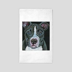 Blue Pitbull Dog Area Rug