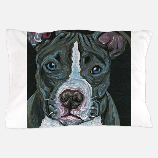 Blue Pitbull Dog Pillow Case