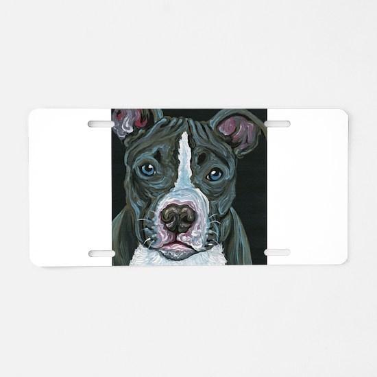 Blue Pitbull Dog Aluminum License Plate