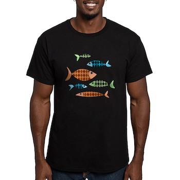 Argyle Fish Men's Dark Fitted T-Shirt