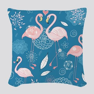 Pink Flamingos Woven Throw Pillow