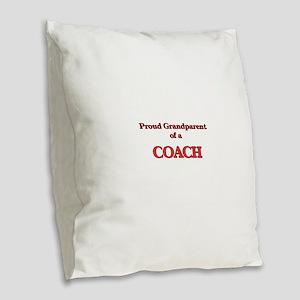 Proud Grandparent of a Coach Burlap Throw Pillow
