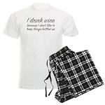 I Drink Wine Men's Light Pajamas