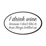I Drink Wine Oval Car Magnet