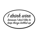 I Drink Wine 20x12 Oval Wall Decal