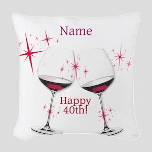 Custom 40th Birthday Woven Throw Pillow