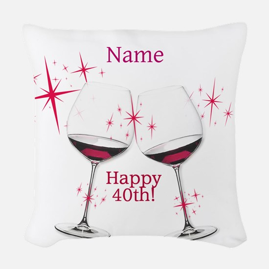 Custom 40th Birthday Woven Throw Pillow