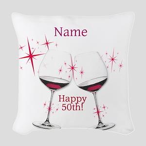 Custom 50th Birthday Woven Throw Pillow