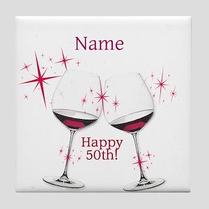 Custom 50th Birthday Tile Coaster